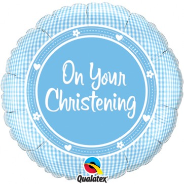 On your Christening Blue Foil Balloon