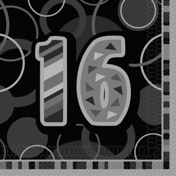 Age 16 Black & Silver Glitz Paper Napkins