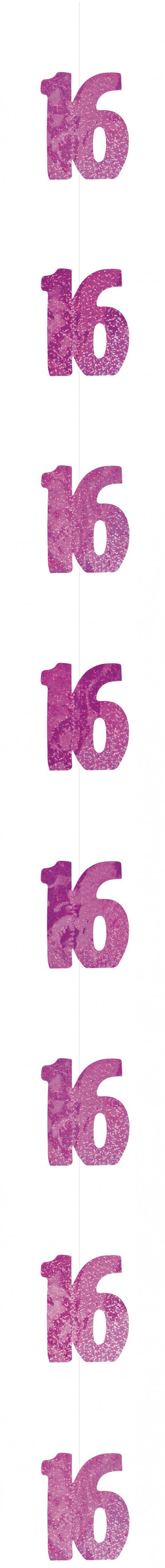Age 16 Pink Glitz Hanging Decoration