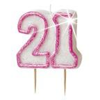 Age 21 Pink Glitz Candle