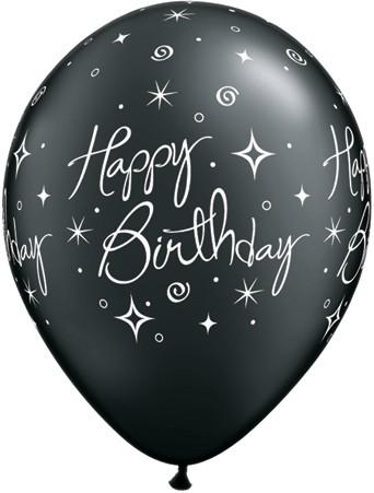 Birthday Elegant Sparkles and Swirls Latex Balloons