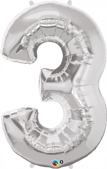 Number 3 Silver Super Shape Foil Balloon
