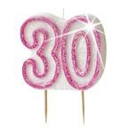 Age 30 Pink Glitz Candle