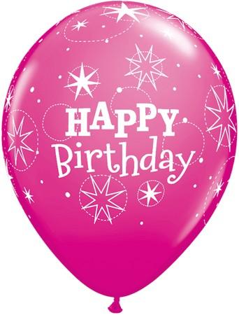 Pink Birthday Sparkle Latex Balloons