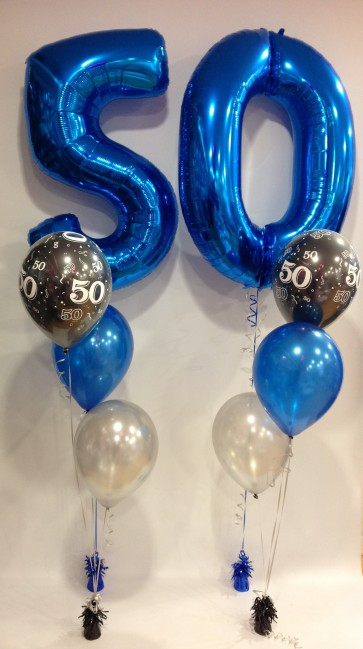 AGE 50 SAPPHIRE BLUE & BLACK CLASSIC BALLOON PACKAGE