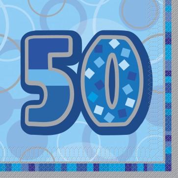 Age 50 Blue Glitz Paper Napkins