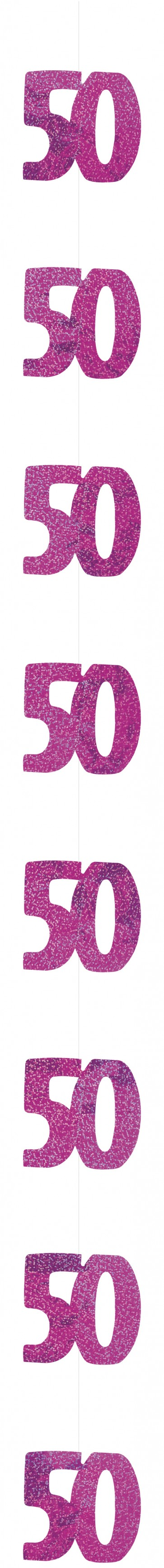 Age 50 Pink Glitz Hanging Decoration
