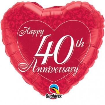 40th Anniversary  Heart Foil Balloon