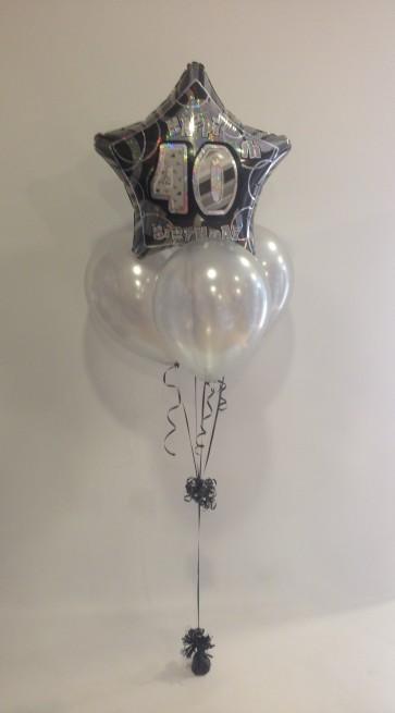 Age 40 Black Glitz & Silver Balloon Bundle
