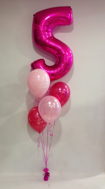 Age 5 Pink Balloon Burst