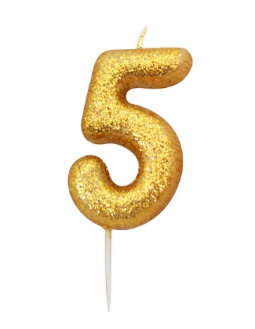 Number 5 Gold Glitter Candle
