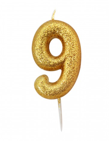 Number 9 Gold Glitter Candle