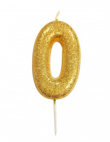 Number 0 Gold Glitter Candle
