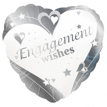'Engagement Wishes' Love Heart Foil Balloon