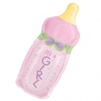 Baby Bottle Girl SuperShape Foil Balloon