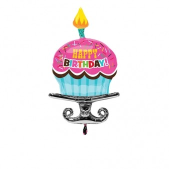 Birthday Sprinkle Cupcake SuperShape Foil Balloon