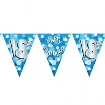 Happy 18th Birthday Blue Flag Banner