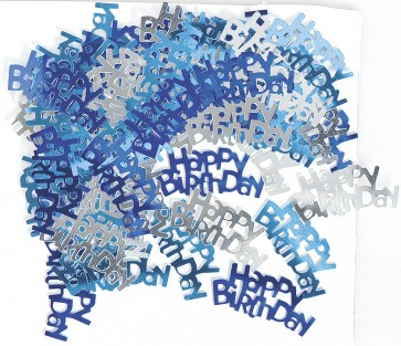 Blue Glitz Happy Birthday Confetti