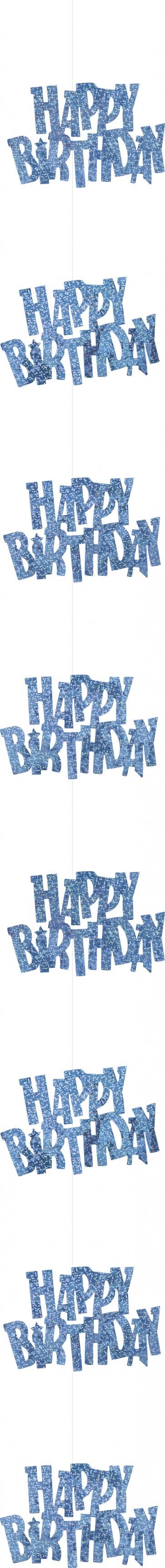 Blue Glitz Happy Birthday Hanging Decorations