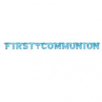 First Communion Blue Foil Letter Banner