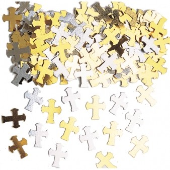 Silver and Gold Cross Confetti