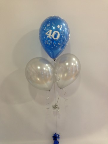 Age 40 Blue and Silver 3 Latex Pyramid Balloon Bouquet