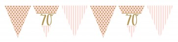 Age 70 Rose Gold and Pale Pink Bunting