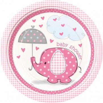 Umbrellaphants Pink Paper Plates