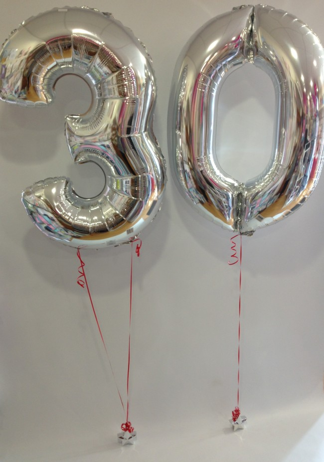Large Silver 30 Number Balloons With Red Ribbon