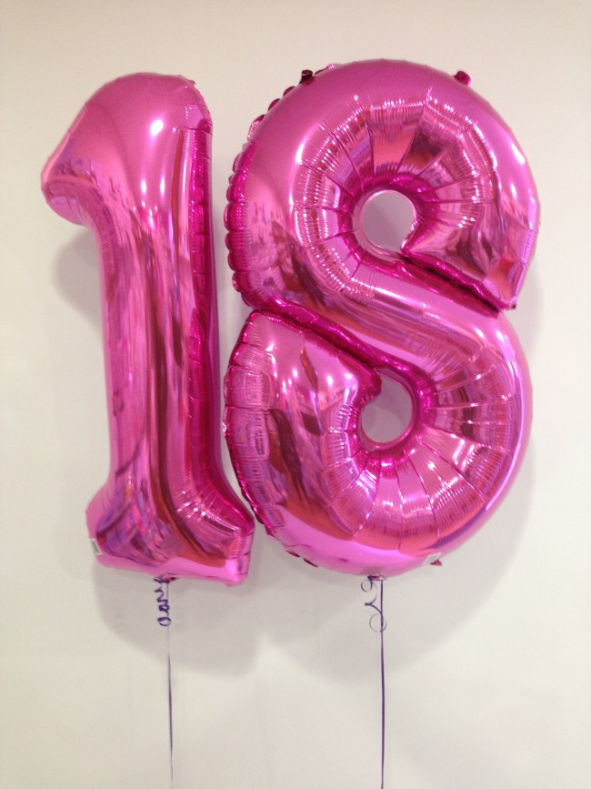 Age 18 Large Hot Pink Number Balloons