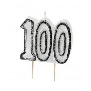 Age 100 Black & Silver Glitz Candle