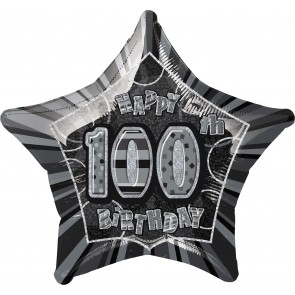 Age 100 Black & Silver Glitz Foil Balloon