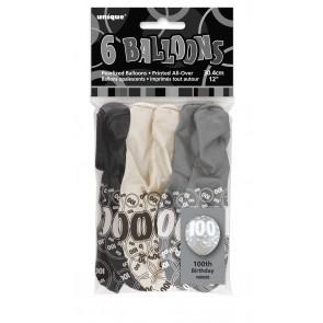Age 100 Black & Silver Glitz Latex Balloons
