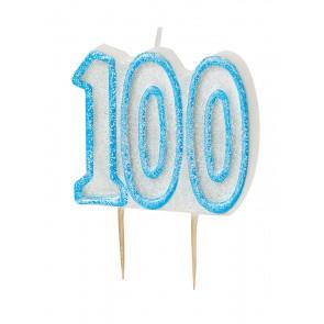 Age 100 Blue Glitz Candle