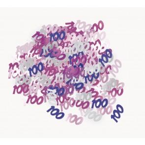 Age 100 Pink Glitz Confetti