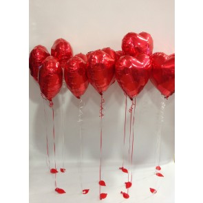A Dozen Red Love Heart Foil Balloons