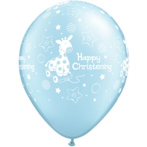 25 x Blue Christening Soft Giraffe Latex Balloons