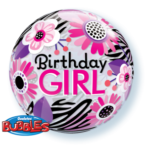 'Birthday Girl' Floral Bubble Balloon