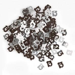Age 13 Black & Silver Glitz Confetti
