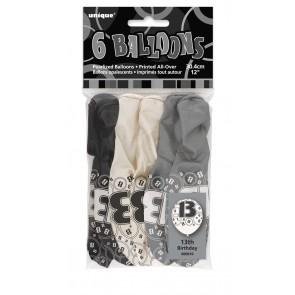 Age 13 Black & Silver Glitz Latex Balloons