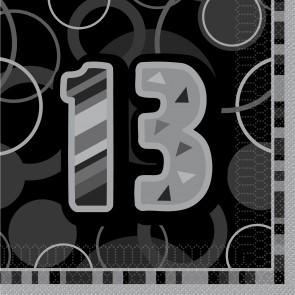 Age 13 Black & Silver Glitz Paper Napkins