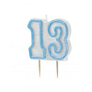 Age 13 Blue Glitz Candle