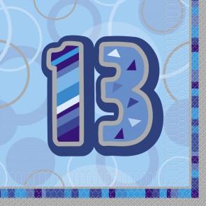Age 13 Blue Glitz Napkins