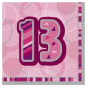 Age 13 Pink Glitz Paper Napkins
