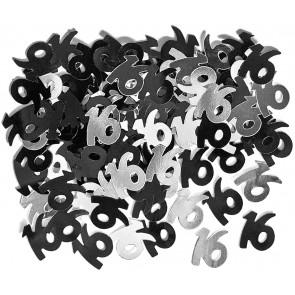 Age 16 Black & Silver Glitz Confetti