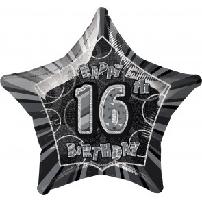 Age 16 Black & Silver Glitz Foil Balloon