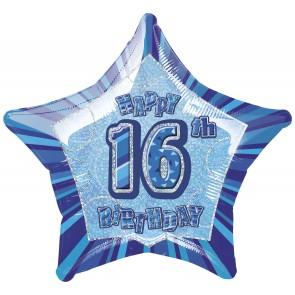 Age 16 Blue Glitz Foil Balloon