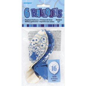 Age 16 Blue Glitz Latex Balloons
