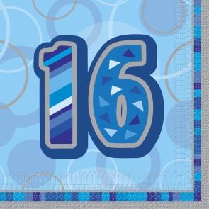 Age 16 Blue Glitz Paper Napkins