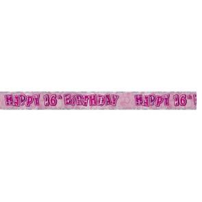 Age 16 Pink Glitz Banner